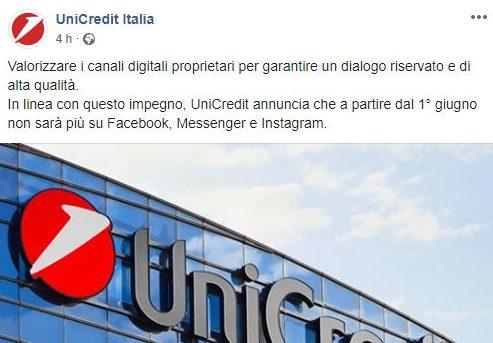 Unicredit abbandona Facebook