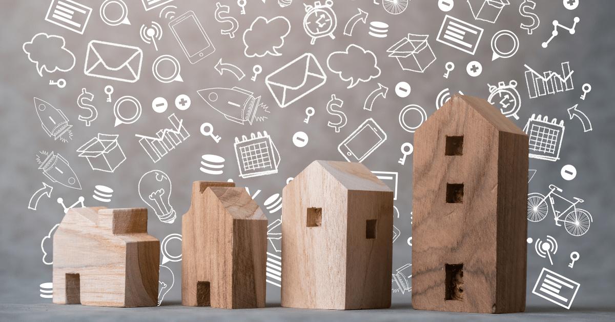 casette di legno con sfondo grafico