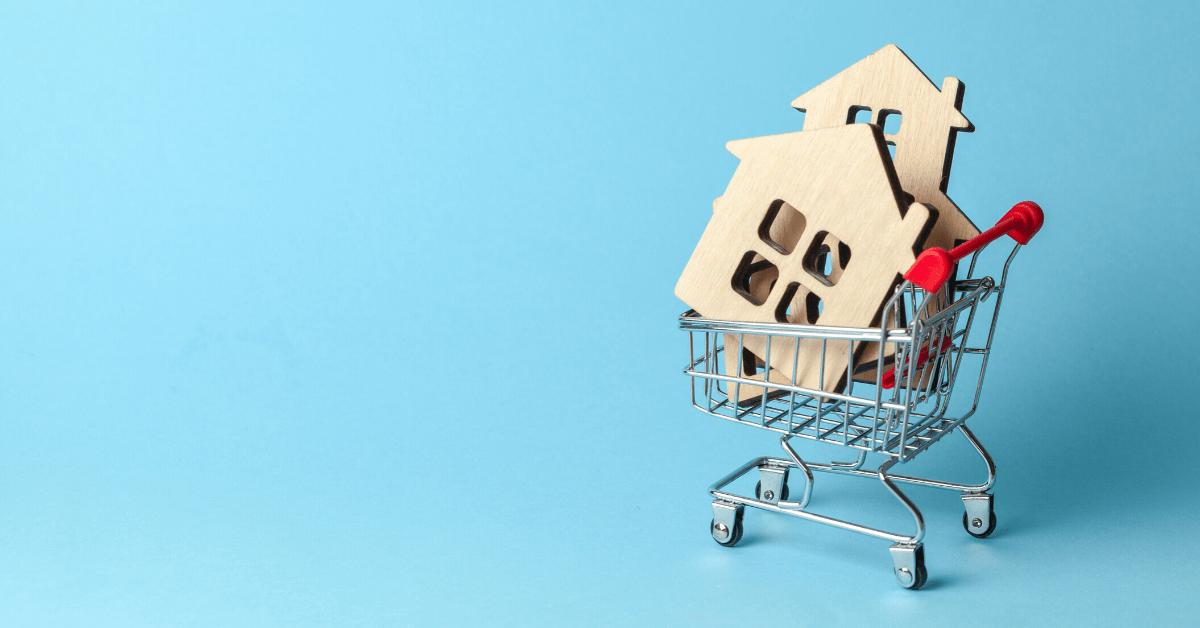 casa nel carrello della spesa